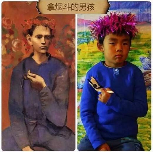 """""""Cậu bé vàchiếc tẩu"""" của Picassođã được một học sinh tái hiện lại. (Ảnh:China Daily)"""