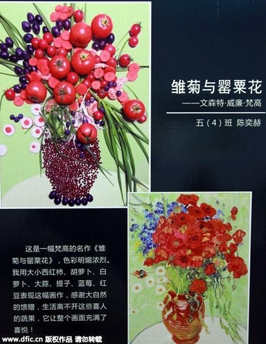 Bên cạnh các bức chân dung, một số bé còn tái hiện các bức tranh tĩnh vật theo phong cách mới lạ. Ví dụ như bé lớp 5 đã dùngcà chua, củ cải trắng, đậu đỏ... để tái tạo bức tranh nổi tiếng củaVincent van Gogh này. (Ảnh:China Daily)