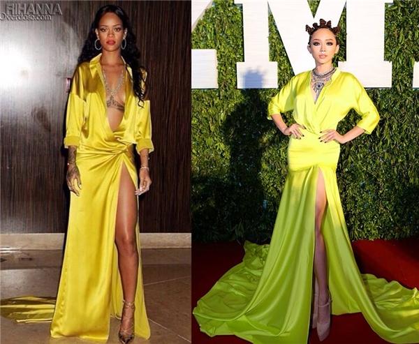 Tuy nhiên, nhiều ý kiến nhanh chóng cho rằng bộ váy có những đặc điểm khá giống với bộ váy mà Rihanna từng diện trên thảm đỏ Grammy 2014. Mẫu thiết kế của nữ ca sĩ lừng danh nằm trong bộ sưu tập Xuân - Hè 2014 của nhà mốt Alexander Vauthier.