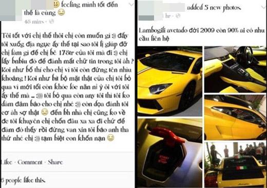"""Cô nàng còn từng đăng tin rao bán siêu xe """"Lamborghini Aventado đời 2009"""" trên mạng và khoe mình mở cửa hàngthời trang cùng những đoạn trạng tháiđặc mùi khoe mẽnhư: """"Sự nổi tiếng của mình là từ đâu? Từ công việc người mẫu teen hay là người yêu của đại gia? Đến cả ông Tây ở quận 5 còn biết về mình"""". (Ảnh Internet)"""