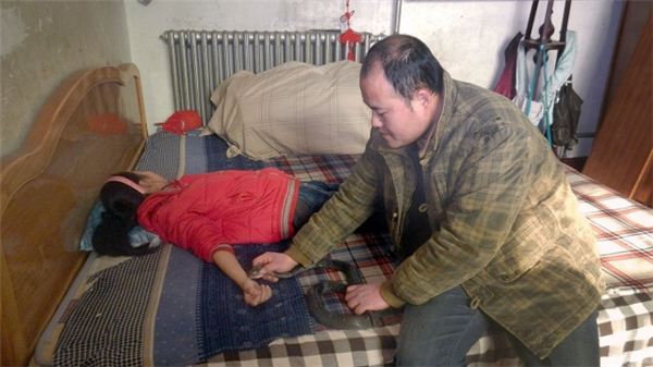 Người đàn ông chữa bệnh hiểm nghèo bằng... rắn độc. (Ảnh:NetEase)