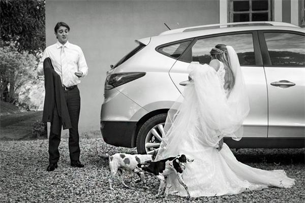 Khi những chú chó quyết định...tè luôn lên váy cưới của cô dâu. (Ảnh:Vinicius Matos)