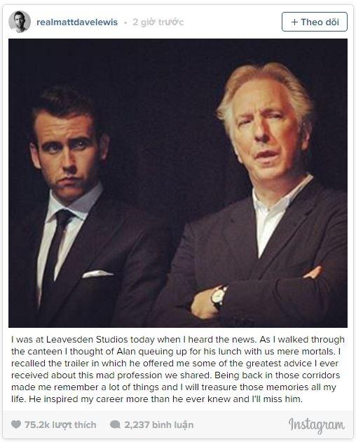 """Matthew Lewis (vai Neville Longbottom) xúc động: """"Tôi đã ở Leavesden Studios ngày hôm nay. Khi bước qua căntin, tôi nhớ lúc Alanxếp hàng chờ nhận bữa trưa cùng những người phàm chúng tôi. Ông từng cho tôinhững lời khuyên tuyệt vời nhất về nghề nghiệp. Trở lại những hành lang ấy khiến tôi nhớ đến nhiều thứ và tôi sẽ giữ gìn những kỉniệm đó suốt đời. Ông ấy đã truyền cảm hứng cho sự nghiệp của tôi nhiều hơn ông ấy biết, và tôi sẽ nhớ ông ấy"""".(Ảnh: Internet)"""
