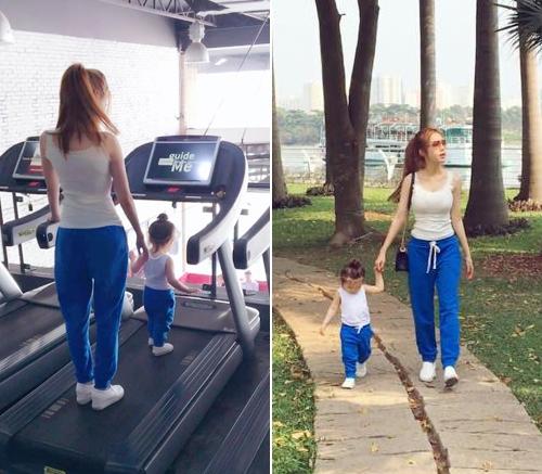 Cadie Mộc Trà khỏe khoắn với áo thun trắng, quần thụng xanh buộc dây đến phòng tập gym cùng mẹ - Tin sao Viet - Tin tuc sao Viet - Scandal sao Viet - Tin tuc cua Sao - Tin cua Sao