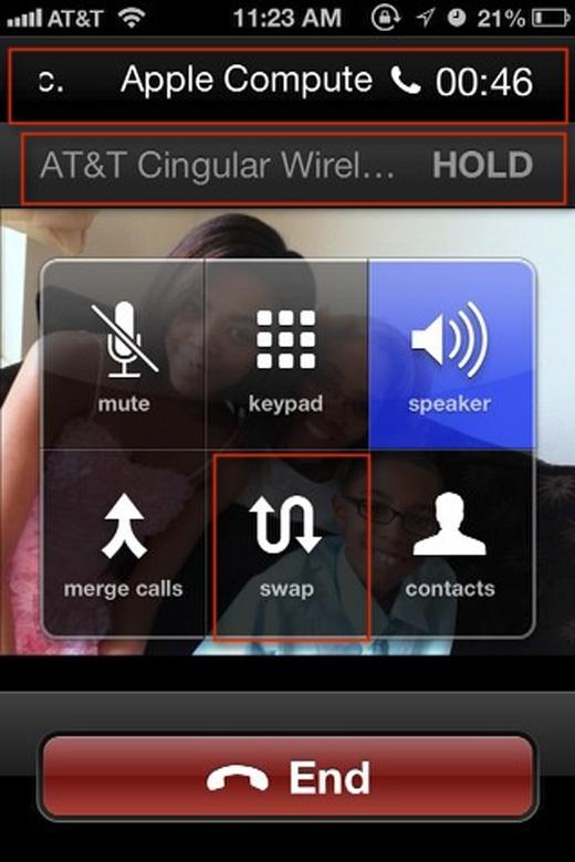 Bấm 1 lần vào nút giữa để chuyển sang cuộc gọi mới, cuộc gọi trước sẽ chuyển sang chế độ chờ. (Ảnh: Internet)