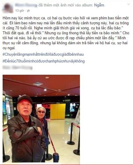 """Hai cụ già tầm 70 tuổi cùng nhau đi đến rạp chiếu phim lần đầu tiên trong đời vì theo cụ ông thì """"bà ấy cứ ao ước được đi rạp chiếu phim một lần đấy"""".(Ảnh: Chụp FB)"""