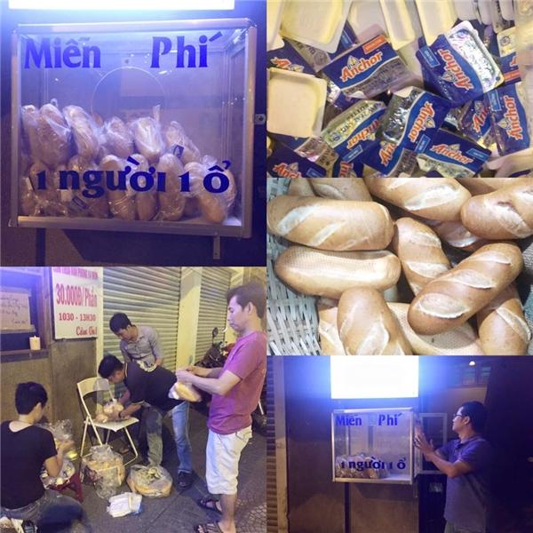 Hình ảnh về tủ bánh mì miễn phí của chị Mỹ Uyên trên đường Thái Văn Lung (quận 1). Ảnh: FB