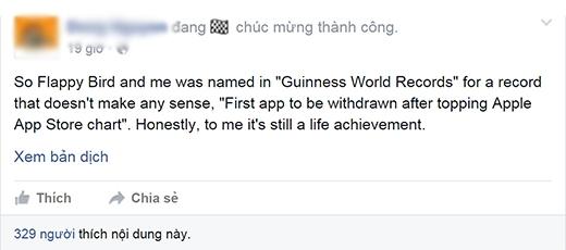 Trên trang cá nhân của mình,Nguyễn Hà Đông đã đăng tải dòng trạng thái thể hiện sự vui mừng của mình. (Ảnh: Facebook)