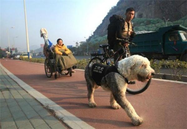 Bạn đồng hành của họ là chú chóA Bao. (Ảnh: Internet)