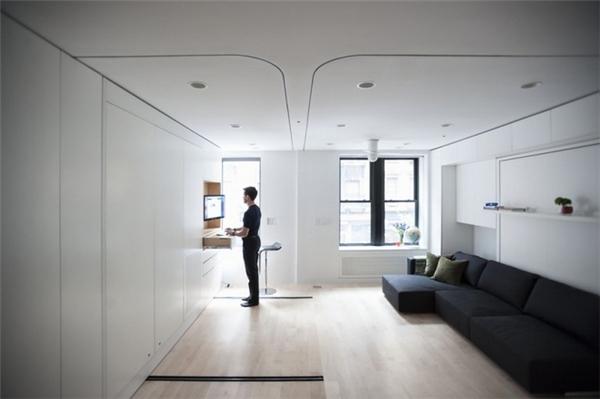 Đây là căn hộ độc đáo của anh chàng Graham Hill - trưởng bộ phận thiết kế của một công ty ở New York (Mỹ). Được biết,Graham Hill đã mua một căn hộ rộng 40m2, tuy nhiên anh chàng này lại muốn xây dựng thêm để được không gian sống tương đương căn hộ 90m2. Ảnh: Internet