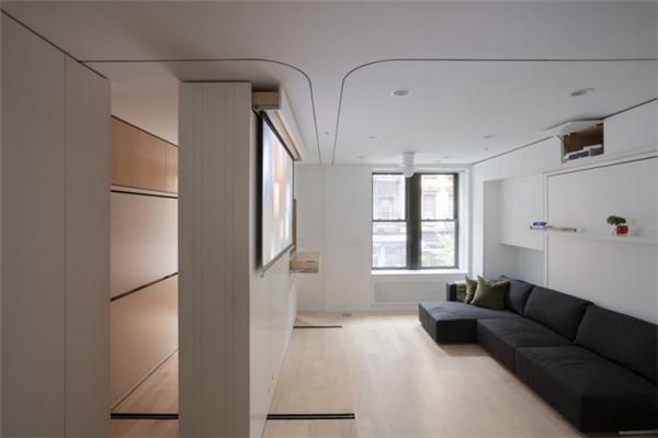 Giải pháp mà hai sinh viên dành cho căn hộ của Graham sử dụng nhiều nội thất thông minh như giường gấp và hệ tủ có thể di chuyển. Ảnh: Internet