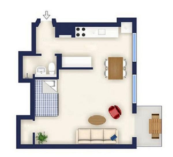 Trước đây, căn hộ Stockholm chỉ vỏn vẹn 39m²nhưng cả gia đình sống thoải mái đã khiến nhiều người thích thú. Theo đó, mỗi không gian trong căn hộ này đều có chức năng riêng và được tận dụng tối đa. Trong ảnh là sơ đồ của căn hộ. Ảnh: Internet