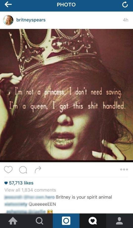 Bức ảnh này còn xuất hiện trên cả instagram của những ngôi sao nổi tiếng nhưRihanna, Kate Upton, Britney Spear... (Ảnh chụp màn hình)