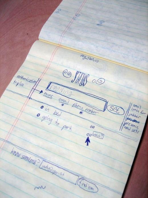 Một bản nháp thiết kế giao diệnban đầu của Twitter.(Ảnh: Internet)