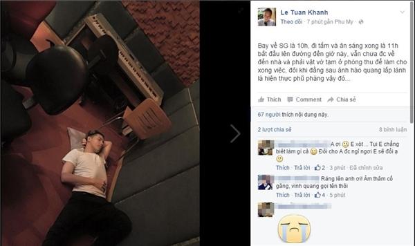 """Mới đây nhất, quản líNoo Phước Thịnh cũng đã đăng tải hình ảnh nam ca sĩ khá mỏi mệt, nằm ngủ ngay trên sàn nhà của phòng thu âm, đã khiến công chúng lo lắng rất nhiều trước cường độ làm việc """"khủng"""" của Noo Phước Thịnh. - Tin sao Viet - Tin tuc sao Viet - Scandal sao Viet - Tin tuc cua Sao - Tin cua Sao"""