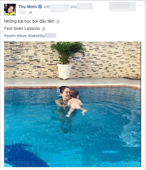 """Thu Minh đăng tải hình ảnh tập bơi cho bé Gấu với dòng chú thích: """"Những buổi học bơi đầu tiên"""". - Tin sao Viet - Tin tuc sao Viet - Scandal sao Viet - Tin tuc cua Sao - Tin cua Sao"""