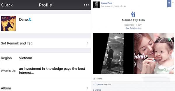 """Dane đặtảnh cặp đôi của hai người làm ảnh đại diện và để trạng thái hôn nhân """"Married Elly Tran"""". (Ảnh: Internet) - Tin sao Viet - Tin tuc sao Viet - Scandal sao Viet - Tin tuc cua Sao - Tin cua Sao"""