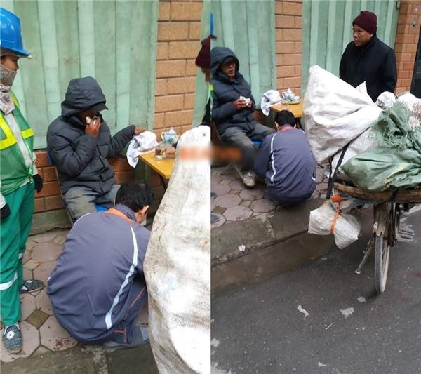 Hình ảnh về câu chuyện tình người ấm áp giữa tiết trời rét buốt ở Hà Nội. (Ảnh: Facebook)