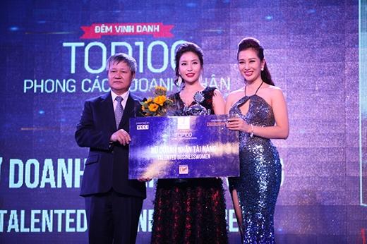 """Giải """"Nữ doanh nhân tài năng"""" thuộc về doanh nhân Nguyễn Lam Cúc – Tổng giám đốc hệ thống Adora Skincare & Luxury Spa - Hoa hậu doanh nhân Thế giới người Việt 2016."""