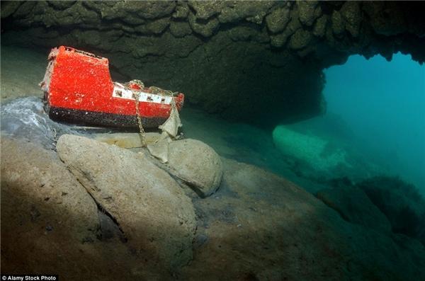 Sáng rực rỡ dưới đáy biển âm u là một mô hình tàu đắm có màu đỏ còn khá mới.(Ảnh: Daily Mail)