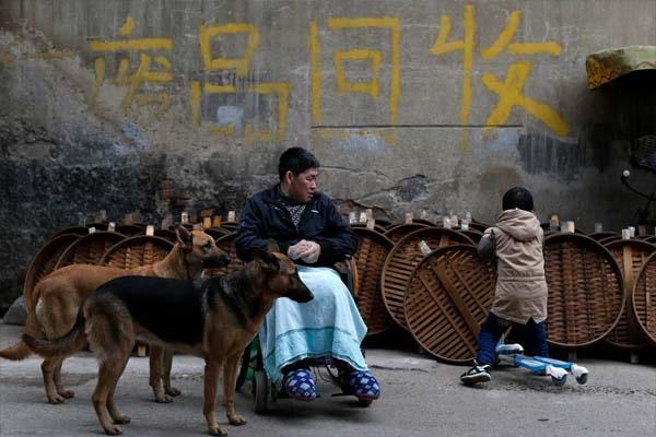 Cũng không ít lần, Phương Kiến Quốc thấy những đứa trẻ bị ngã trong khi đang nô đùa ngoài đường, nhưng anh không thể làm gì khác ngoài việc an ủi chúng. Những lúc đó, hai chú chó trung thành lại dụi vào lòng anh, giống như an ủi.