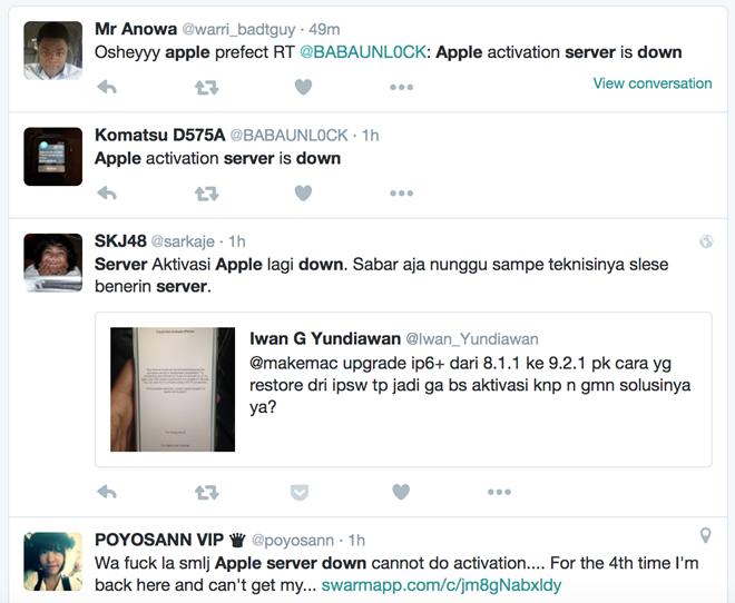 Nhiều người dùng tại Đông Nam Á than phiền về tình trạng lỗi của máy chủ Apple trên Twitter.