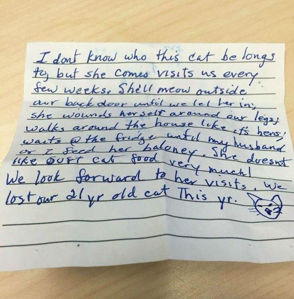 Mẩu giấy từ người lạ được kẹp trên vòng cổ của Nala.(Ảnh: Reddit)
