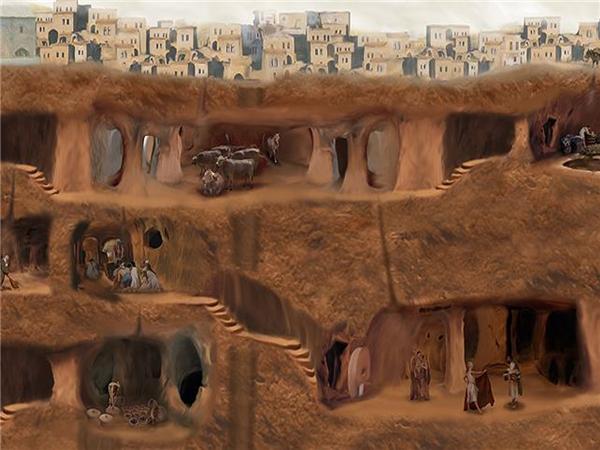 Thành phố ngầm Derinkuyu được tình cờ phát hiện năm 1963. (Ảnh: Internet)