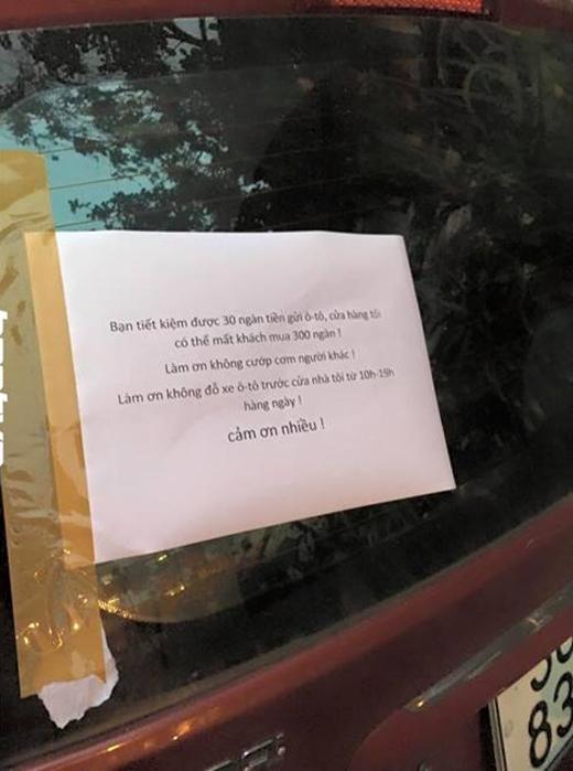"""""""Tâm thư"""" gửi chủ xe. Ảnh: FB"""
