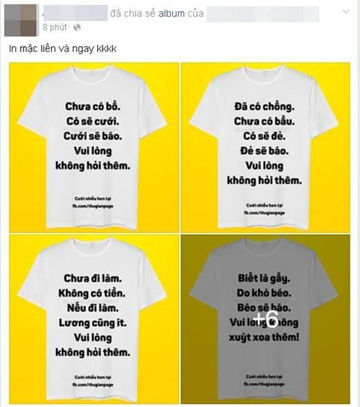 """Rất nhiều bạn trẻ tỏ ra thích thú và muốn ngay lập tức đi in đống áo hài hước """"bá đạo"""" này.(Ảnh: Internet)"""