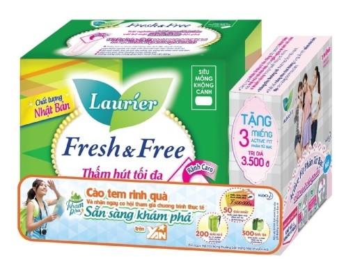 """Tìm mua ngay sản phẩm Laurier Fresh & Free có logo """"Sẵn Sàng Khám Phá"""" trên siêu thị và cửa hàng toàn quốc."""