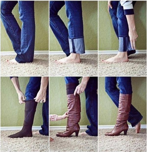 Ống quần quá dài, bạnhãy mang tất dàitrước để định hình ống quần sau đó mớimang giày vào. (Ảnh: Internet)