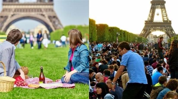 Tháp Eiffel từ lâu đã thu hút rất nhiều tâm hồn lãng mạn đến đây, thế nên việc có thể nằm trên bãi cỏ hay picnic cùng với người thân đã trở nên khó mà thực hiện được. (Ảnh: Internet)