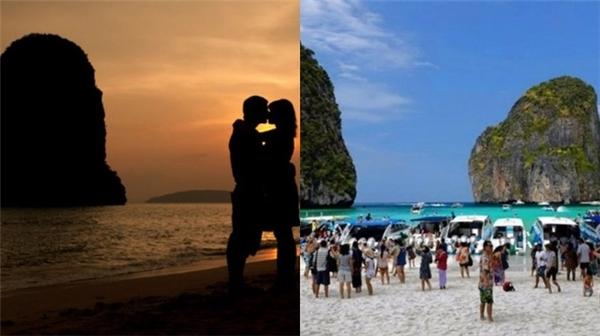 Hãy quên đi những hình ảnh về một bãi biển lãng mạn yên bình khi hoàng hôn xuống, bởi nó chỉ toàn người và người khi vào mùa du lịch mà thôi. (Ảnh: Internet)