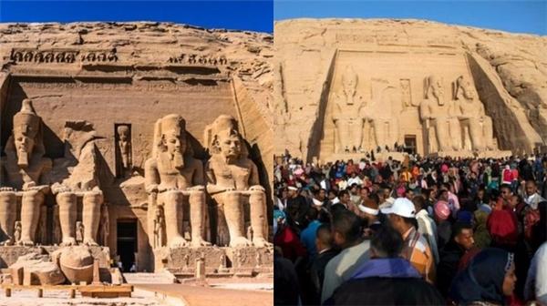 Ngay cả đền thờ Abu Simbel ở tận Ai Cập cũng trở thành biển người giữa sa mạc. (Ảnh: Internet)