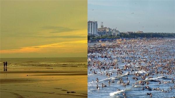 Không ở đâu xa, bãi biển Sầm Sơn ở Thanh Hóa quả thực là một biển người mênh mông. (Ảnh: Internet)