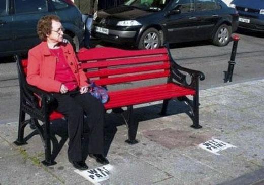 Những người sơn ghế thật biết cách đặt biển cảnh báo(Ảnh: Internet)