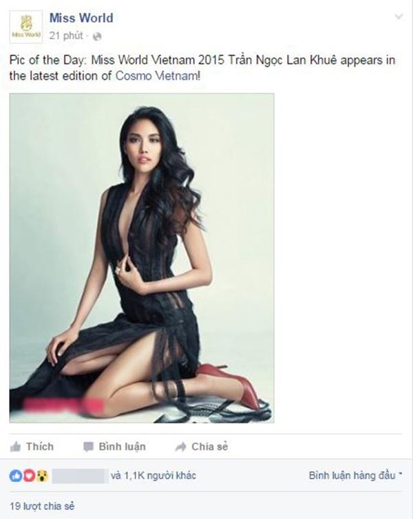 Dòng chia sẻ của trang Miss World đã khiến người hâm mộ Việt Nam cảm thấy tự hào về Lan Khuê trước cộng đồng thế giới. - Tin sao Viet - Tin tuc sao Viet - Scandal sao Viet - Tin tuc cua Sao - Tin cua Sao