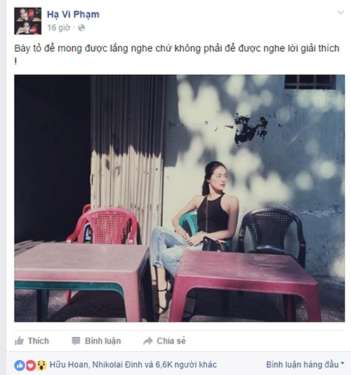 Hạ Vi đã bất ngờ đăng tải trên trang cá nhân dòng tâm trạng buồn bã kèm hình ảnh ngồi một mình cô đơn. - Tin sao Viet - Tin tuc sao Viet - Scandal sao Viet - Tin tuc cua Sao - Tin cua Sao
