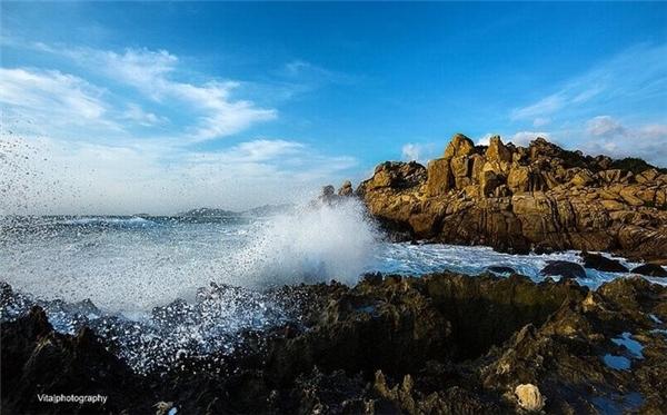 Từ Phan Rang, đi theo tuyến đường biển Ninh Chữ đến cầu Trị Thủy, rẽ phải và đi tiếp dọc quốc lộ 702 đến thôn Thái An, xã Vĩnh Hải, huyện Vĩnh Hy, bạn sẽ gặp vòng eo biển có làn nước xanh như ngọc xen lẫn các bãi đá nhấp nhô.(Ảnh: Internet)