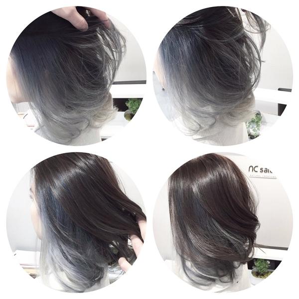 Cô bạn này nhuộm một lớp tóc màu xám phía dưới. (Ảnh: Internet)