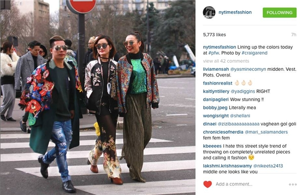 Hình ảnh của Travis Nguyễn, Thythu Phương Nguyễn và Miu xuất hiện trên Instagram của tờ báo hàng đầu thế giới New York Times. Họ diện những bộ cánh được tạo điểm nhấn bằng các họa tiết, tông màu nổi bật, bắt mắt.