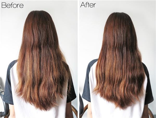 Trước và sau khi thực hiện dưỡng tóc bằng công thức tự làm. (Ảnh: Internet)