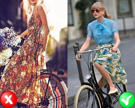 Nếu bạn muốn diện váy dài khi đi xe đạp thì hãy chọn loại váy dài qua đầu gối hoặc ngang bắp chân thôi nhé. (Ảnh: Internet)