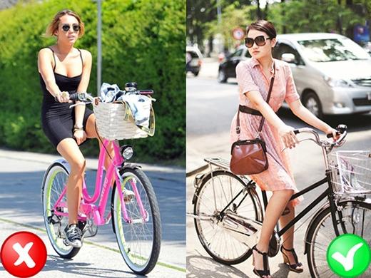Khi đạp xe bạn hãy chọn những chiếc đầm rộng rãi, thoải mái và đủ độ dài để có thể dễ dàng hoạt động. Bạn cũng có thể choàng khăn hoặc đeo túi xách để che chắn thêm. (Ảnh: Internet)