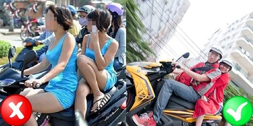 Bạn cũng nên tránh ngồi một bên vì đây là tư thế không an toàn và có thể gây khó khăn cho người lái. Hãy dùng váy chống nắng hoặc áo khoác để che chắn đôi chân và để có thể ngồi hai bên cho vững nhé. (Ảnh: Internet)
