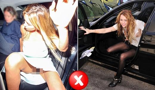 Cũng có những bạn gái vô ý lên, xuống xe bằng cách choãi một chân lên/xuống trước rồi mới đến chân kia. Hành động đó vô tình khiến bạn bị lộ nội y rất phản cảm. (Ảnh: Internet)