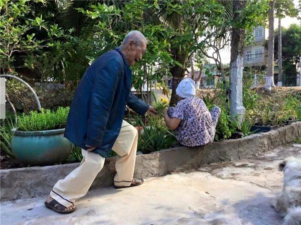 Cụ ông hóm hỉnh tặng hoa cho cụ bànhân ngày 8/3 khiến dân mạng thích thú. (Ảnh: Internet)