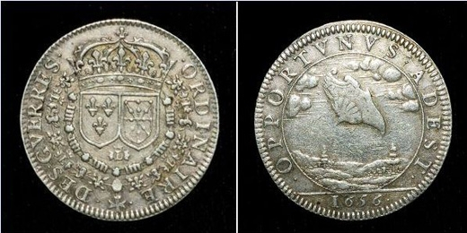 Một đồng xu năm 1656 cũng khắc hình vật thể tròn.(Ảnh: Daily Mail)