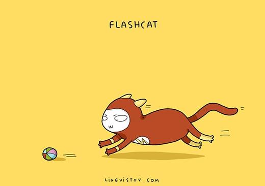 Khoan đã, chẳng lẽ trái bóng lại lăn nhanh hơn cả Mèo Tia Chớp sao?! (Ảnh: Lingvistov)